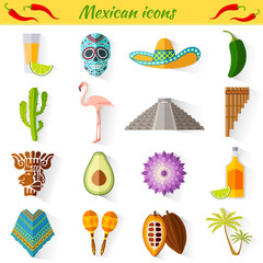 Set of vector travel Mexican icons. Collection of famous symbols and design elements in Mexican style.