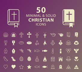 Set of 50 Minimal and Solid Christian Icons. Vector Isolated Elements.