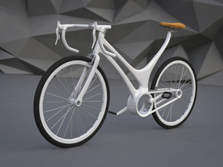 White Bike 3d concept, Futuristic Bicycle concept, Bike Theme Elements, Street Speed Sport Bicycle, Bike On Stone Low Poly Background, Bike 3d Rendering