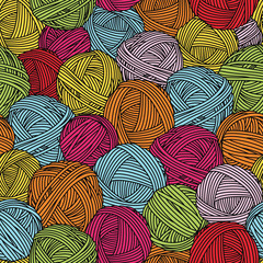 Wool balls, yarn skeins. Seamless pattern. Colorful background.