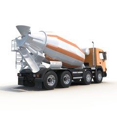 Concrete Mixer Truck isolated on white 3D Illustration