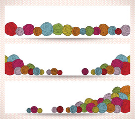 Set of horizontal banners with yarn balls.