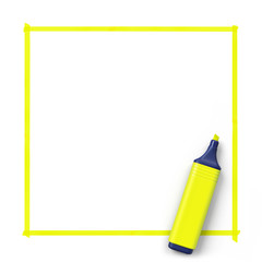 Highlighter with hand drawn frame.Yellow.3D rendering.Top view.