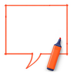 Highlighter with hand drawn speech bubble.Angled.Orange.3D rendering.Top view.