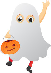 happy kid in a ghost costume