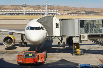 Airport outdoor with airplane and finger. Travel tourism backgro