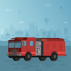 Red fire truck on blue cityscape background vector  illustration