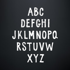 Sketchy rough alphabet. Hand drawn uppercase letters.