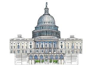 Watercolor Hand drawn architecture sketch illustration of Capitol Washington DC USA landmark isolated