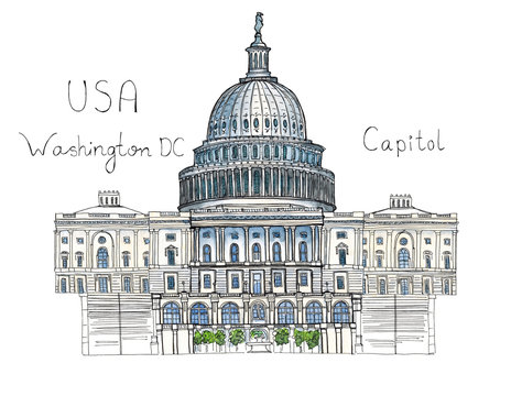 Watercolor Hand drawn architecture sketch illustration of Capitol Washington DC USA landmark with lettering isolated