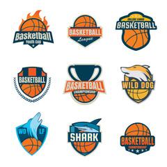 Basketball logotype collection ,sport badge set, vector illustra
