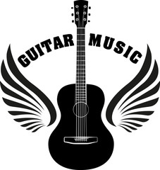 Musical emblem with wings, fire and caption Guitar music