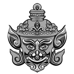 Giant mask of Thailand Travel. illustration isolated on white background. Vector