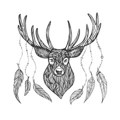 Textured line deer with feathers on horns. Doodle ink deer head full face