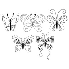 Set of cute cartoon butterflies isolated on white background.