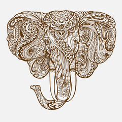 Hand-drawn Oriental elephant with ethnic ornaments floral doodle pattern. Vector illustration Henna Mandala Zentangle stylized. Design for spiritual relaxation for adults.