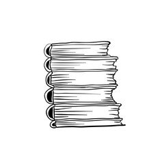 Coloring book page design with stack of books