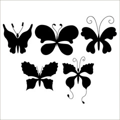 Set of silhouettes of cute cartoon butterfly isolated on white b