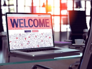 Welcome on Laptop in Modern Workplace Background. 3D Illustration.