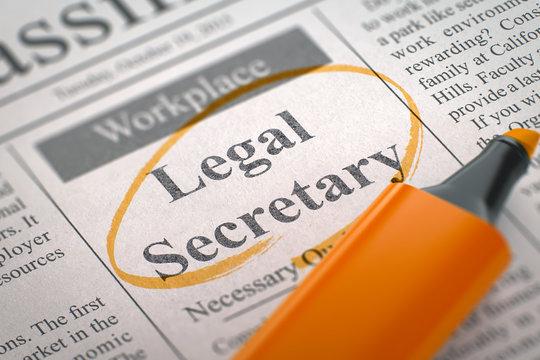 We are Hiring Legal Secretary. 3D Illustration.