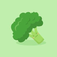 Cute Broccoli Vegetable Mascot Vector Illustration