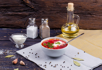 Borsch. Traditional Russian and Ukrainian vegetable soup