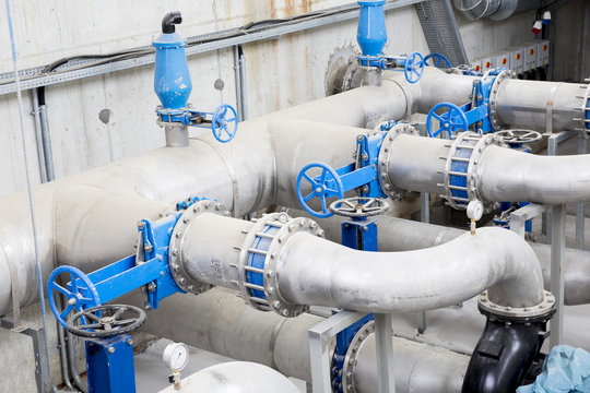 Wastewater treatment facility valves pipes