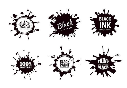 Vector set of ink splashes, blots. Splatter collection.