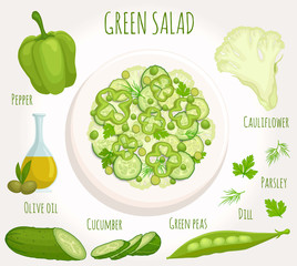 Green salad recipe with ingredients. Top view. Vector illustration. Plate with sliced vegetables.