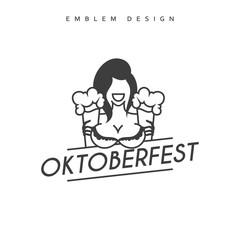 Vector illustration design Emblem Oktoberfest. Festivities in Germany. Oktoberfest Celebration