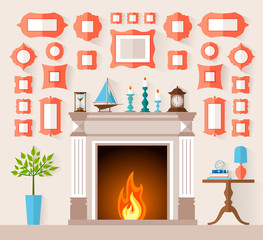 The interior design of the fireplace room with different frames on the wall. Vector illustration in the flat style. Mantel with Souvenirs and accessories. Wall decoration frames.