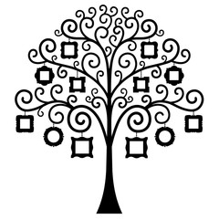 Tree with frames for photos isolated on white background. Vector illustration. The stencil for the album. Silhouette of a family tree.