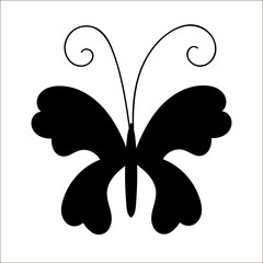 Silhouette of cute cartoon butterfly