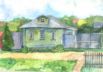 Watercolored illustration of an old wooden house