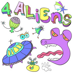 Aliens , a set of amusing pictures of alien organisms