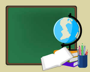 Education background blackboard , globe , glass with pencils , b