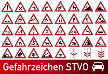 Verkehrszeichen STVO Gefahrzeichen Sammlung icon Set Vektor / german traffic road sign icon vector collection set