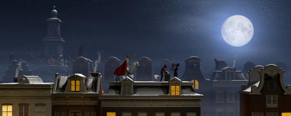 Sinterklaas and the Pieten on the rooftops at night