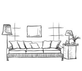 Room interior sketch. Hand drawn sofa