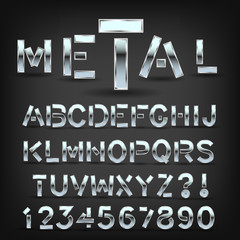 Metal font with shadow on black background. Chrome typeface symbols and letters. Vector.