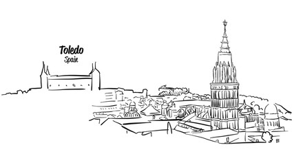 Toledo Ancient Skyline Panorama Sketch
