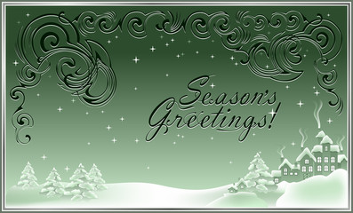 Christmas greeting card, vector cartoon image.