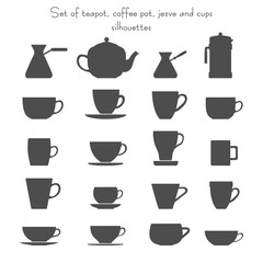 Vector illustration of 16 coffee and tea cups, cezves, teapot and french press set. Isolated dishes on white background. Fully editable collection for packaging design, decor and your other projects.