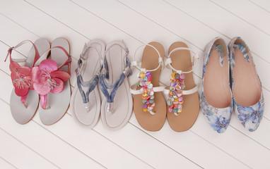 female summer shoes, assortment,  showcase, storefront