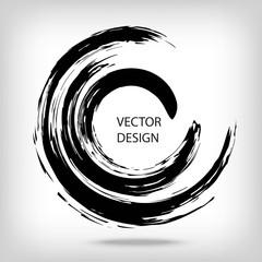 Hand drawn circle shape. Circular label, logo design element, frame. Brush abstract wave. Black enso zen symbol. Vector illustration. Place for text.