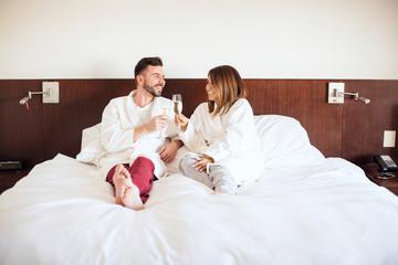 Couple celebrating their honeymoon