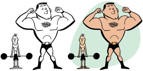 Skinny man envying a muscular bodybuilder