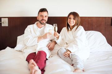 Newlyweds enjoying their honeymoon