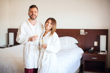 Celebrating their honeymoon in a hotel