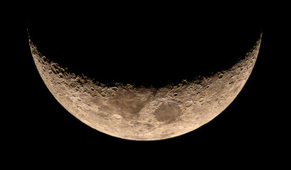 High resolution young crescent Moon